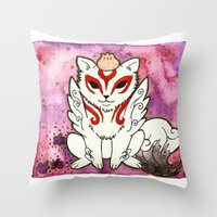okami Throw Pillows featuring Amaterasu from Okami 02 by Jazmine Phillips