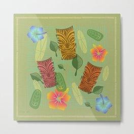 Bamboo Tiki Room Pattern Metal Print