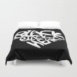 Black Black Heart / White on Black Duvet Cover