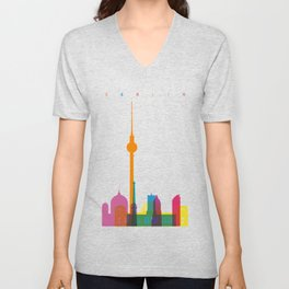 Shapes of Berlin accurate to scale Unisex V-Neck