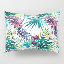 Blue Mystery Forest of Flowers and Tendrils Pillow Sham