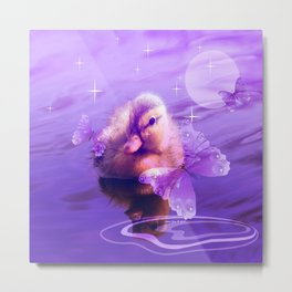 Baby Duck And Butterflies By Annie Zeno Metal Print