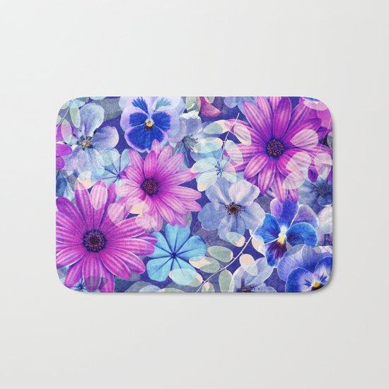 Dark pink and blue floral pattern Bath Mat