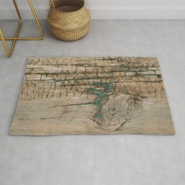 Rustic Wood - Knotty Wood Turquoise Paint - Beautiful Weathered Wooden Plank - Ages Gracefully Rug