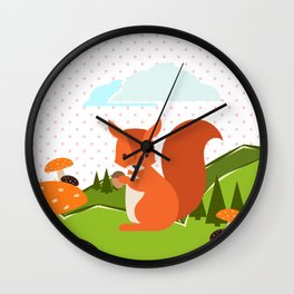 Squirrel and Rainbow , nursery decor Wall Clock