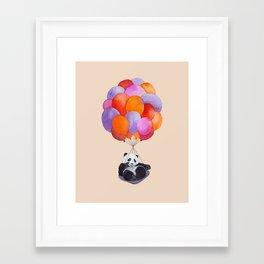 Panda flying with balloons Framed Art Print