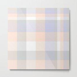 White Plaid Tartan Checkered Pattern Metal Print