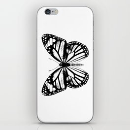 Monarch Butterfly | Vintage Butterfly | Black and White | iPhone Skin