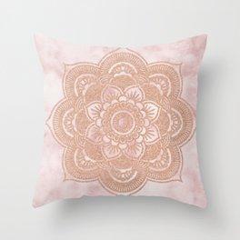 Rose gold mandala - pink marble Throw Pillow