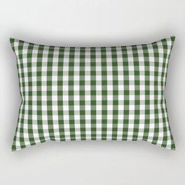 Dark Forest Green and White Gingham Check Rectangular Pillow