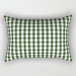 Dark Forest Green and White Gingham Check Rectangular Pillow