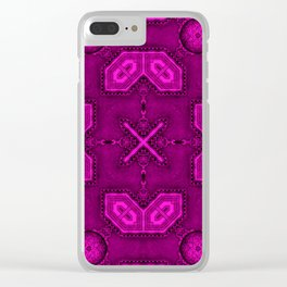 Victorian Art Deco Medieval Pattern bright pink SB26/6 Clear iPhone Case