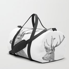 Black and white deer animal portrait Duffle Bag
