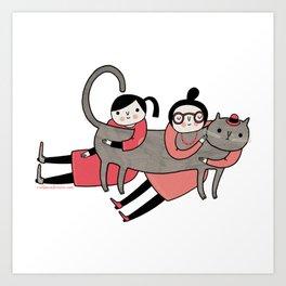 Sticker / Cat Hug Art Print