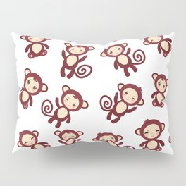 pattern with funny brown monkey boys and girls on white background. Vector illustration Pillow Sham