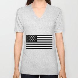 Black And White Stars And Stripes Unisex V-Neck