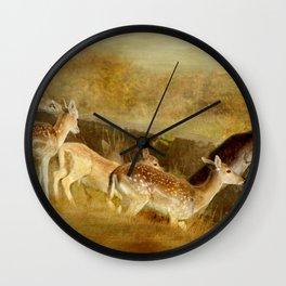 Fallow Deer Running Wall Clock