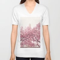 central park V-neck T-shirts featuring Central Park - Cherry Blossoms by Vivienne Gucwa