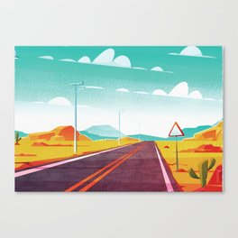 Life is a Highway Kitschy Vintage Retro Watercolor Mid Century Style Canvas Print