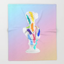 A Grecian Bust With Color Tests (Cotton Candy Gradient Edition) Throw Blanket