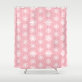Frosty Snowflakes Sweet Blush Shower Curtain
