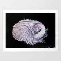Fish. Black. White. Art. Printed Art Print