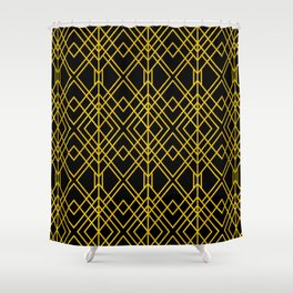 Chicago Cigar Bar Gold and Black Art Deco Shower Curtain