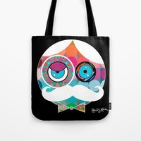 psychadelic Tote Bags featuring Mr. Mustache Man Psychadelic by Gabriel J Galvan