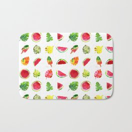 Cute colorful watercolor with watermelon, popsicles and palm leaves Bath Mat