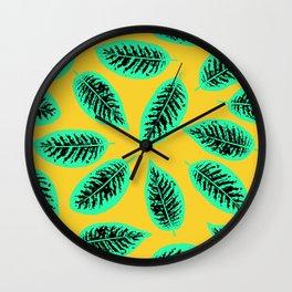 Dieffenbachia tropical leaf pattern Wall Clock