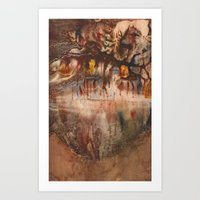 middle earth Art Prints featuring Middle of the Earth by Loredana