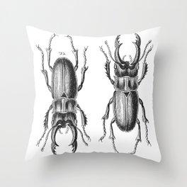 Vintage Beetle black and white Throw Pillow