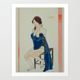 Yana in the Cobalt Kimono  Art Print
