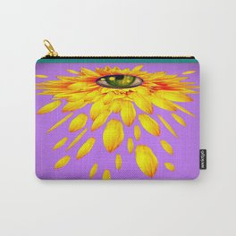 Surreal  Mystic Yellow Petal Eye Teal-Purple Color Art Carry-All Pouch