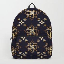 Indian Golden Lotus flower Mandala Pattern with Elegant Art Violet background Backpack
