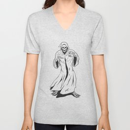 Grim reaper holding an hourglass -  black and white Unisex V-Neck
