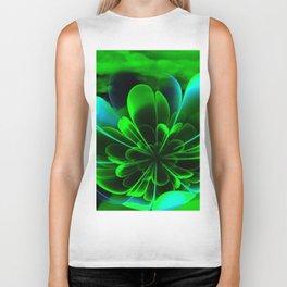 Abstract Green Flower Biker Tank