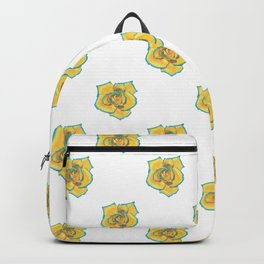 Yellow and Turquoise Rose Backpack