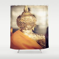 buddhism Shower Curtains featuring Buddha the other side  by Maria Heyens