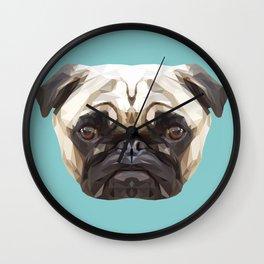 Pug // Blue Wall Clock