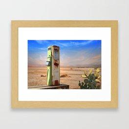 Old Gas Pump in Desert Framed Art Print