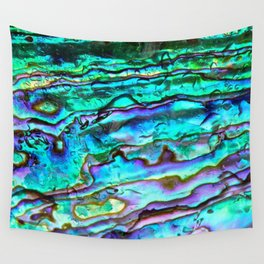 Glowing Aqua Abalone Shell Mother of Pearl Wall Tapestry