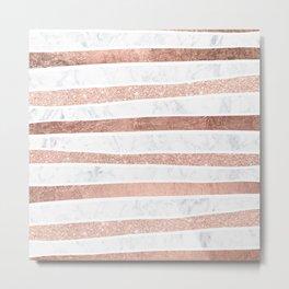 Modern faux rose gold glitter foil marble stripes pattern Metal Print
