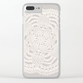 Cream on Taupe Antique Crocheted Lace Pineapples Doily Clear iPhone Case