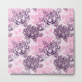 Peony pattern in pink and violet Metal Print