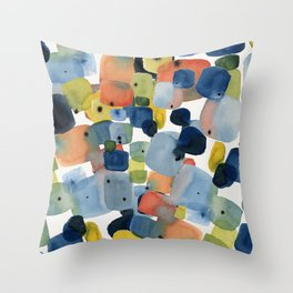 Blue Green Orange Yellow Watercolor Abstract Throw Pillow