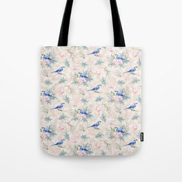Chic Watercolour Blue Jay Spring Flowers Tote Bag