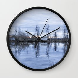 Reflection in Blue Wall Clock