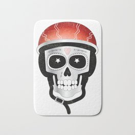 Halloween Cyclist Sugar Skull Bath Mat