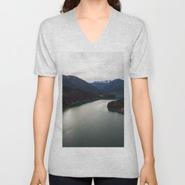 german alps road lake trees forrest drone aerial shot horizon clouds Unisex V-Neck